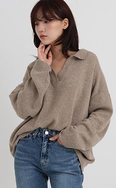 cash open collar knit (2colors)