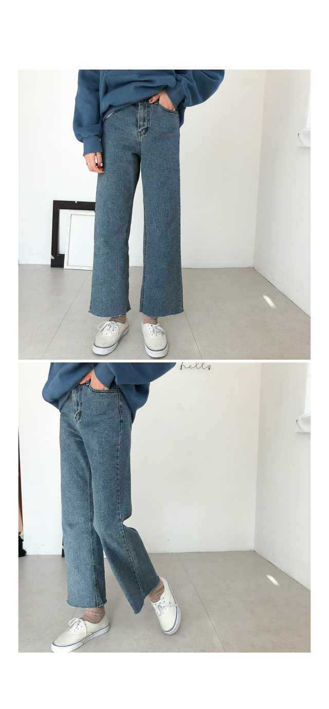 Daily wide denim pants brushed