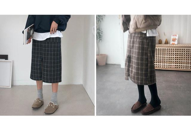 Daily check skirt