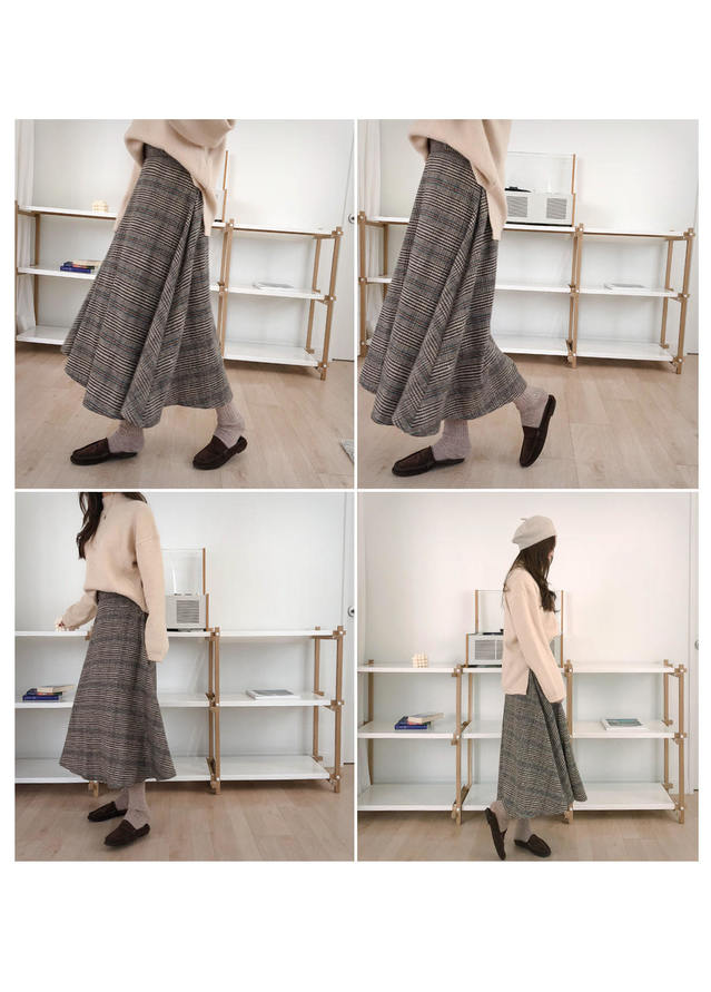 Long skirt with wool check