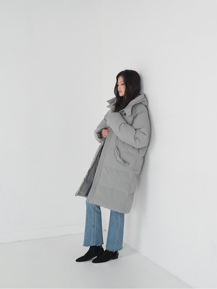 Hooded down long padding jumper-jp