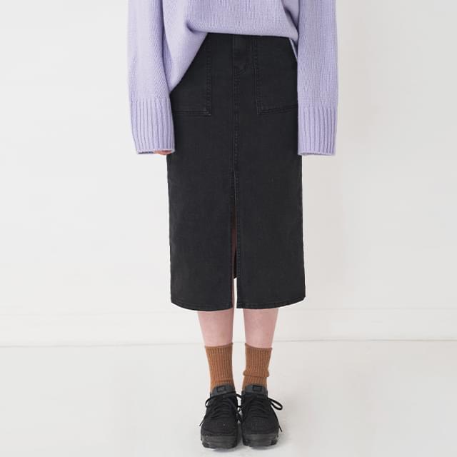high-waist slit point midi skirt