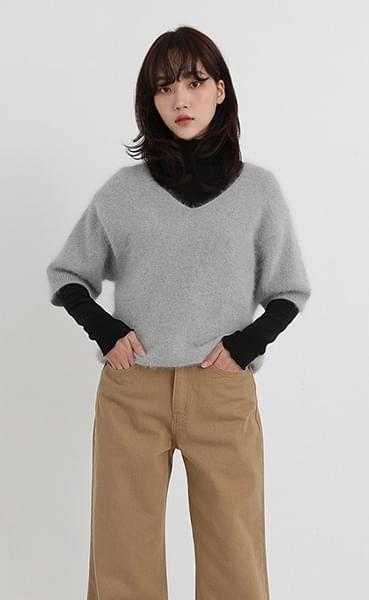 angora wool v-neck knit (4colors)
