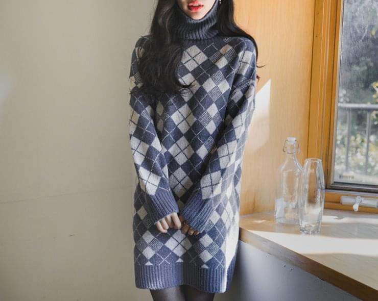 Argyle turtleneck dress