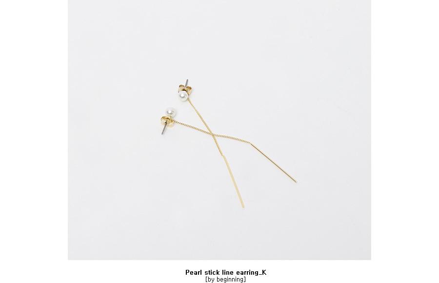 Pearl stick line earring_K (size : one)