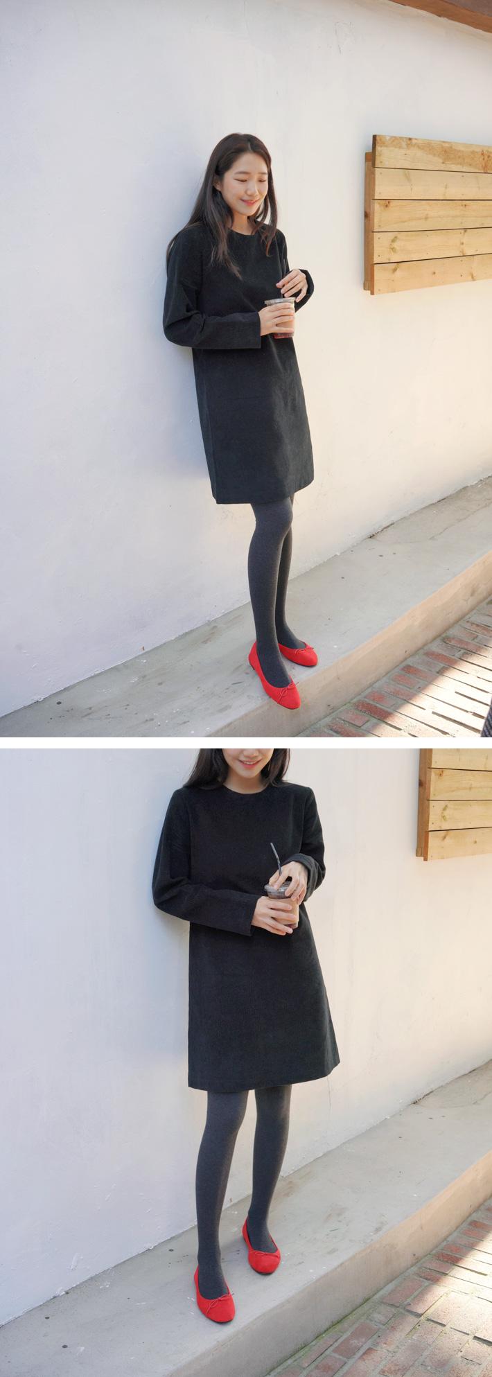 Winter ribbon flat shoes_K (size : 225,230,235,240,245,250)