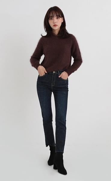mode blue denim pants