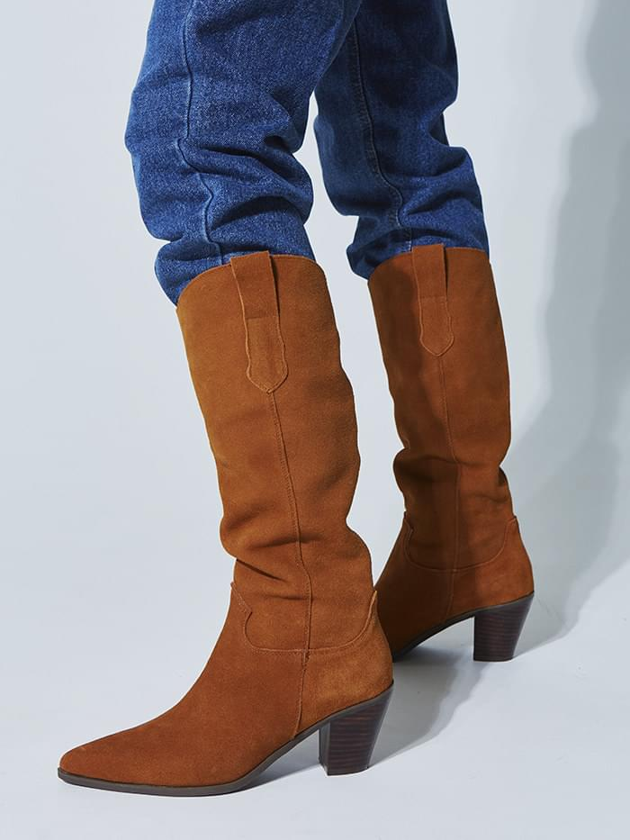 real suede cowboy boots (2 color)