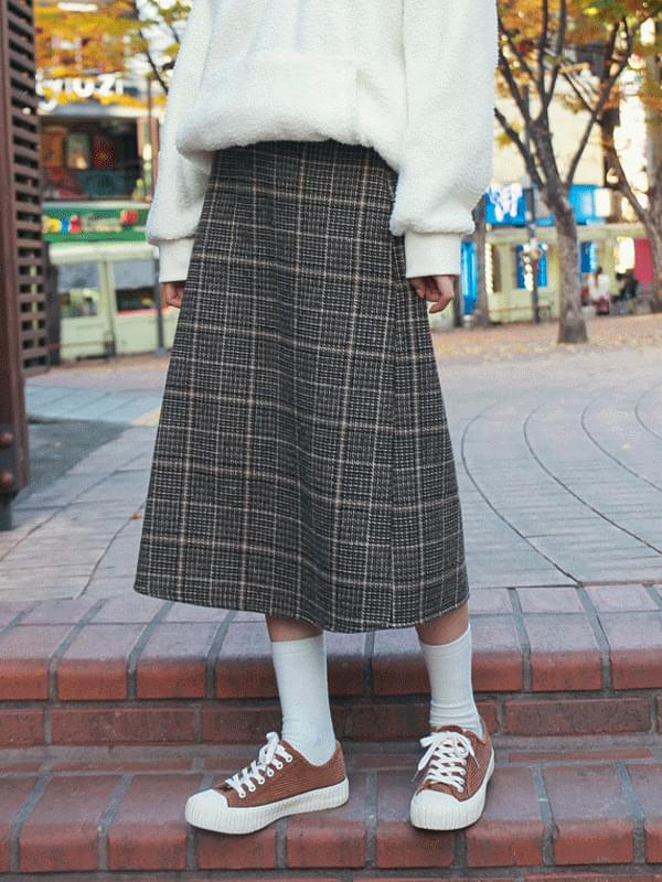 Raf Check Midi Skirt