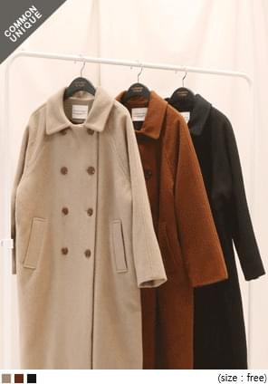 LOW WOOL 80% RAGLAN DOUBLE COAT