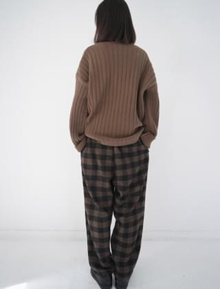 warm mood check banding pants (2colors)