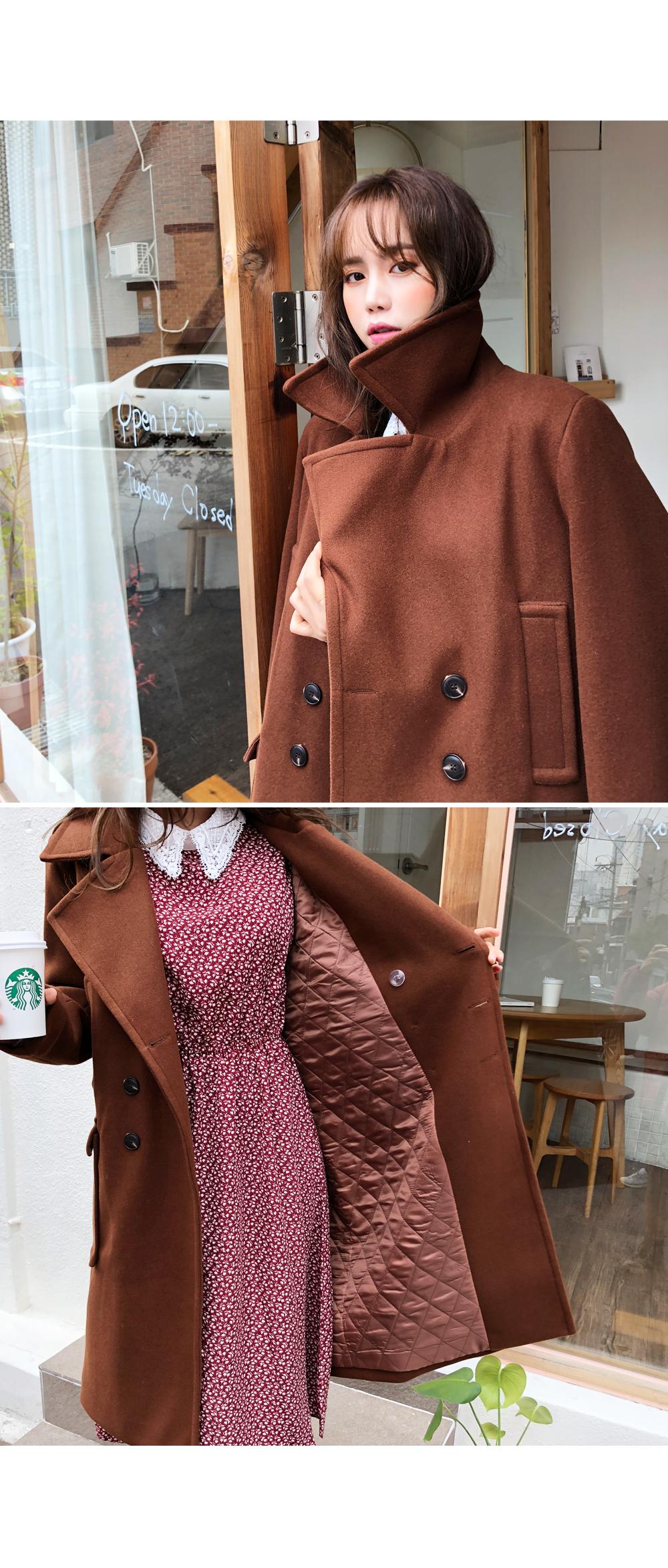 Rib double knit wool coat