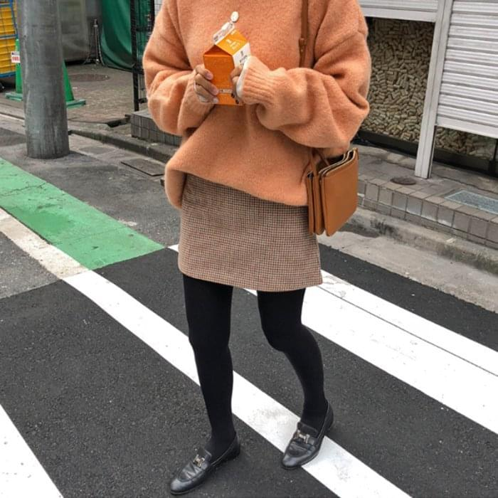 Macaron-checked skirt