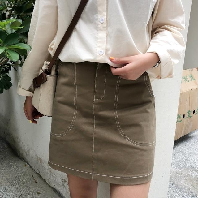 Brown stitch mini skirt