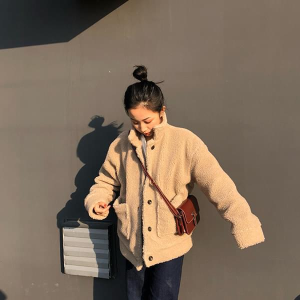 Casual pocket dumble fleece jacket