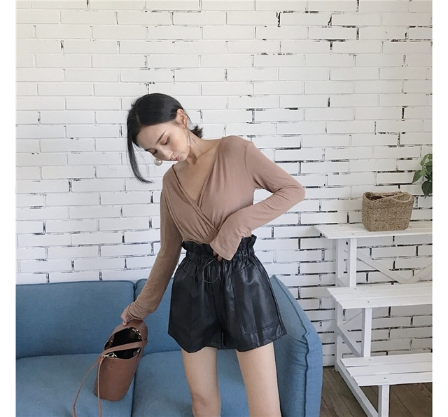 Waist short sleeves leather pants