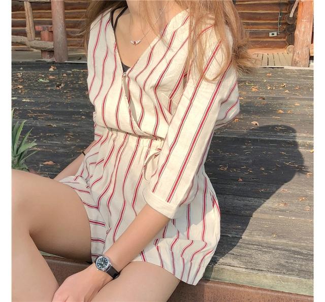 Beige Red Striped Summer Jump Suit