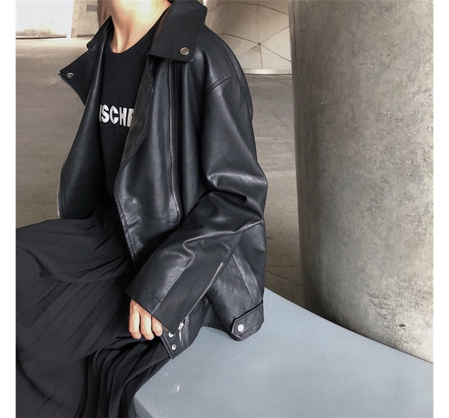 Chic Black Casual Leather Jacket
