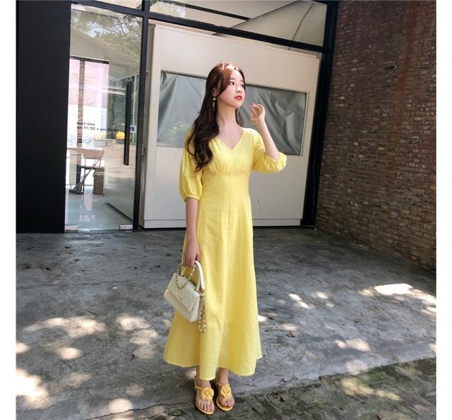 Yellow Yellow V-neck Waist Fit Long Dress