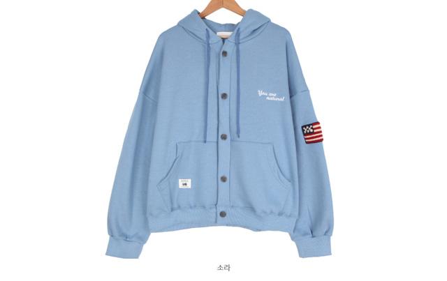 Patch hood button cardigan