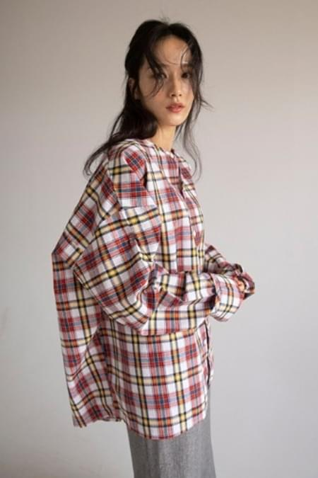 over round check shirt (3colors)
