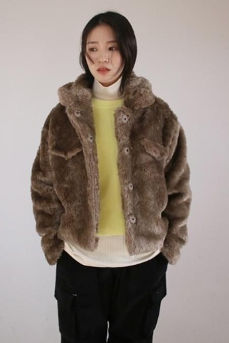 fake wooly hair jacket (beige)