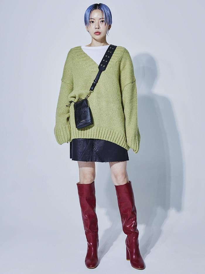 2way v-neck pastel knit (3 color)
