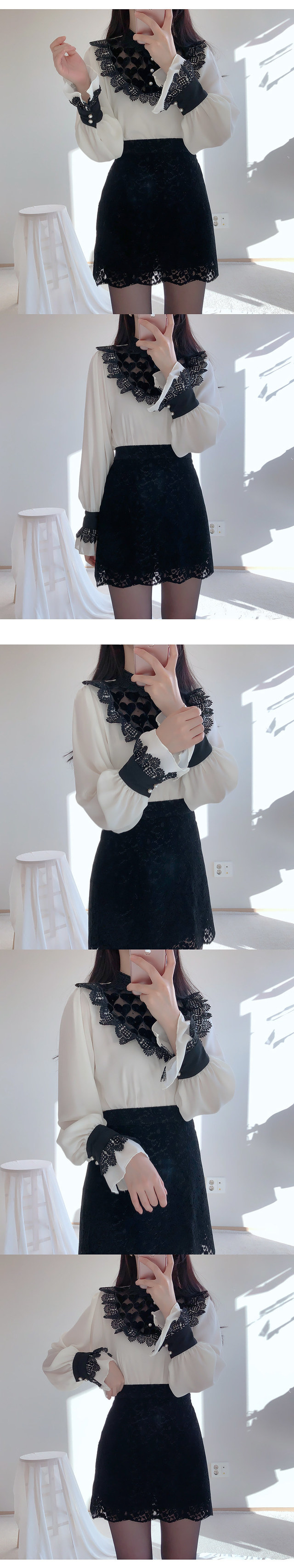 Rubber velvet see-through blouse