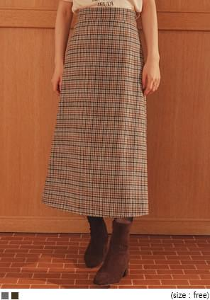 PLACE WOOL 40% CHECK LONG SKIRT