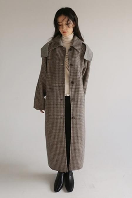 handmade check hooded coat
