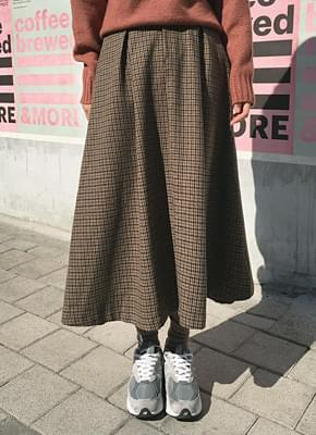 Wool Check Bending Skirt