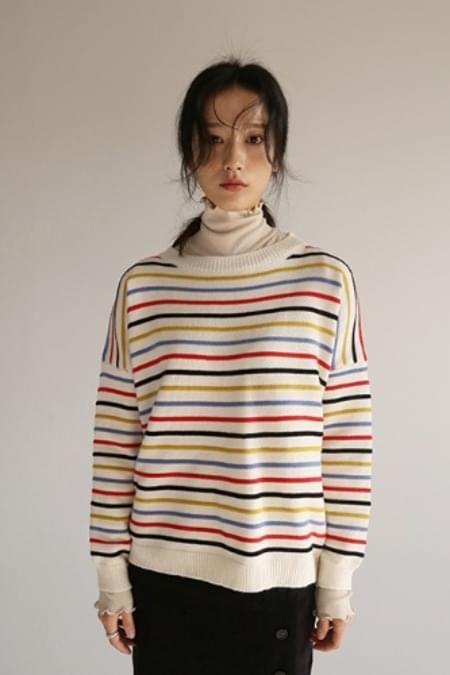 color stripe knit top (2colors)