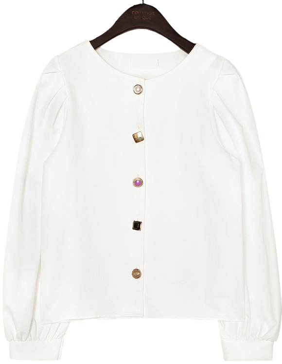 CLEAR JEWELRY BUTTON BLOUSE