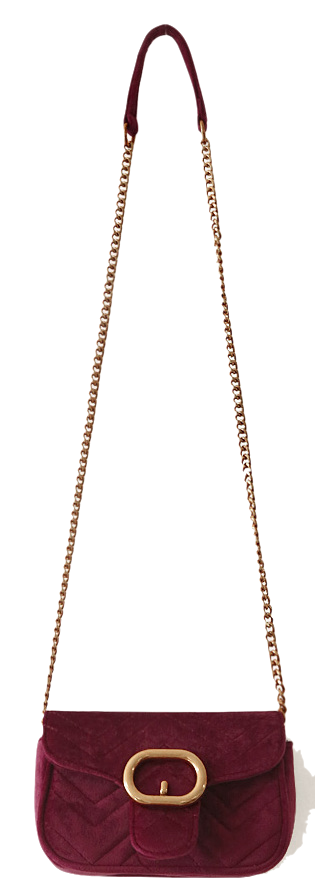 OVER GOLD CHAIN VELVET MINI BAG