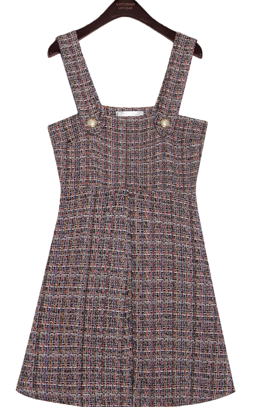 MUCH PEARL TWEED OVERALL MINI OPSWITH CELEBRITY _