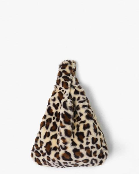 leopard fur tote bag