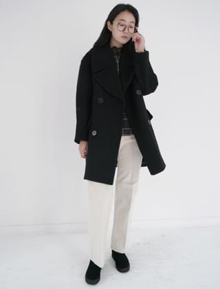 wide collar double coat (2colors)
