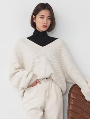 girlish angora v-neck knit
