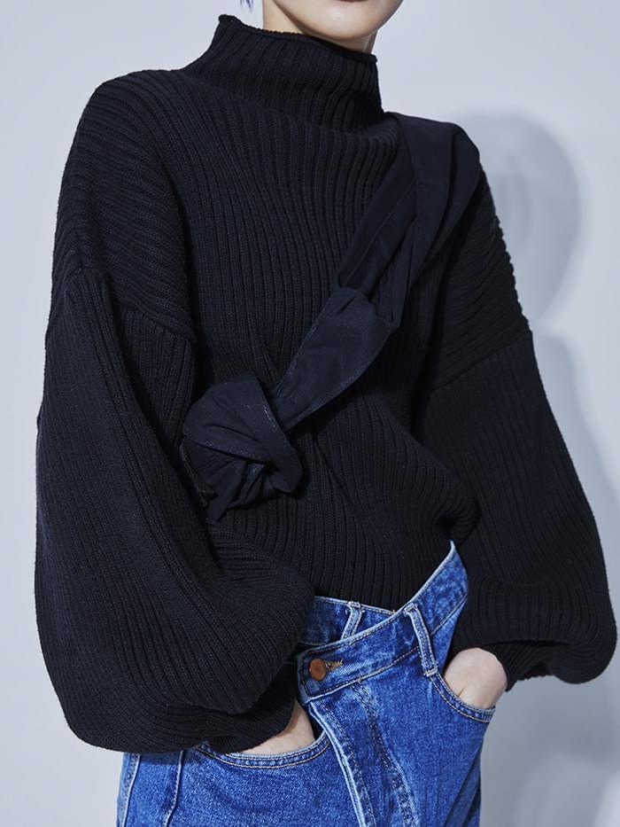 high neck balloon crop knit (3 color)