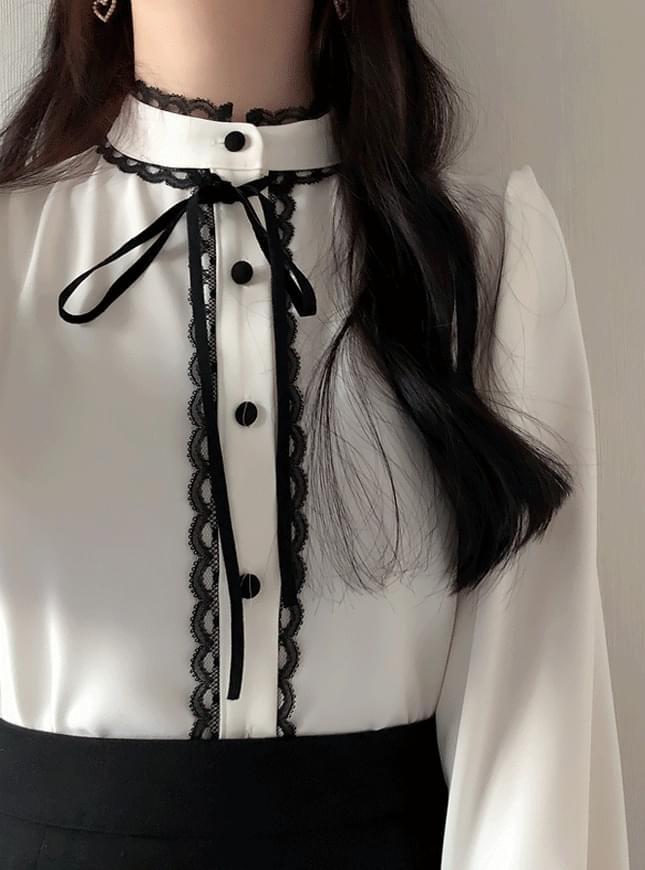 Mesh lace ribbon blouse