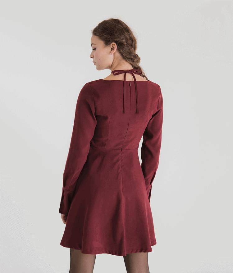 韓國空運 - Tie Neck Flared Dress 及膝洋裝