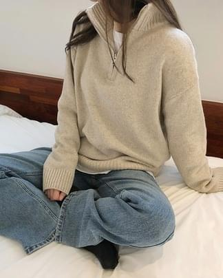 common zipper wool knit