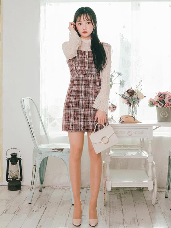 Tweed button nail dress