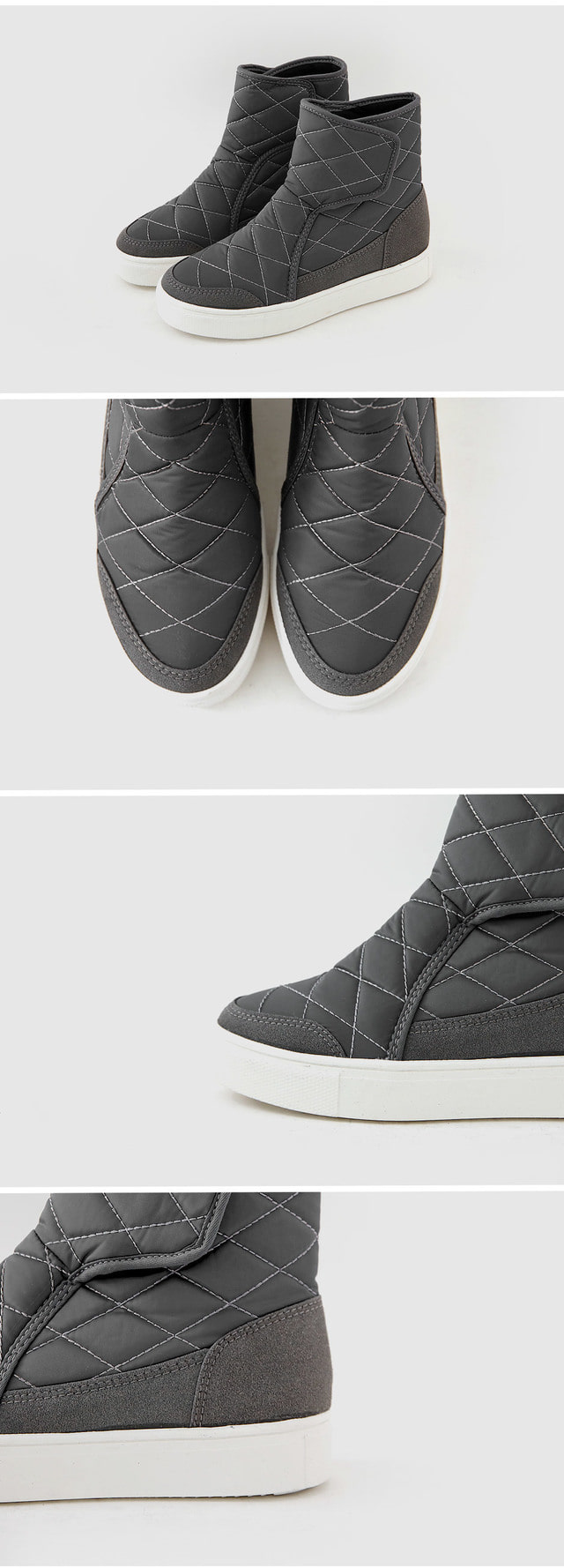 Quilt Velcro Padded Boots 3cm