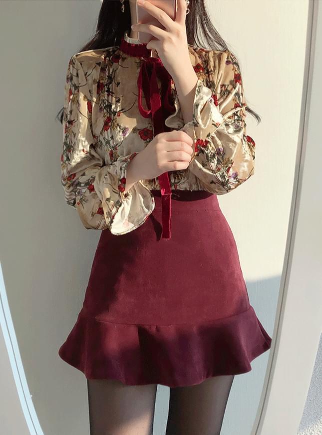 ♥ poppy velvet flower blouse