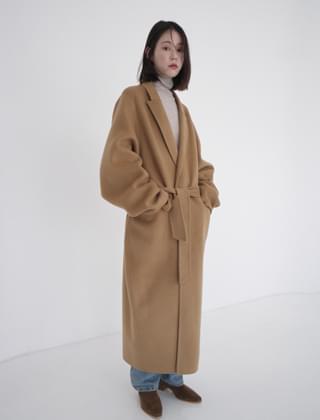 modern handmade belted coat (2colors)