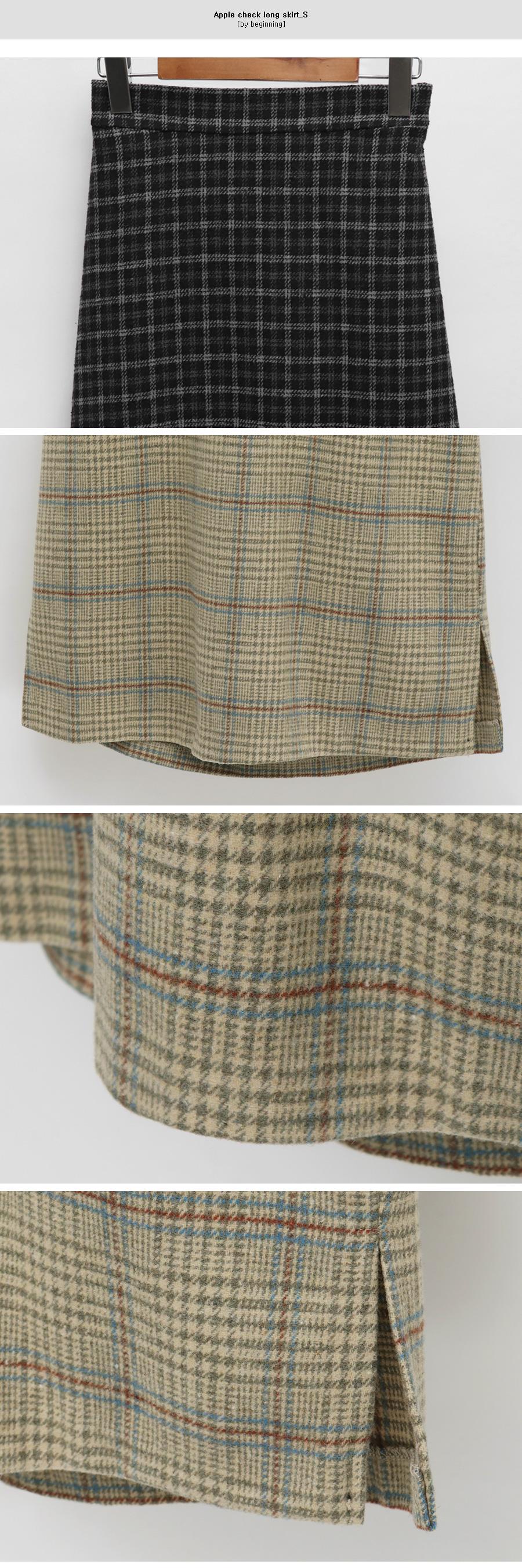 Apple check long skirt_S (size : free)
