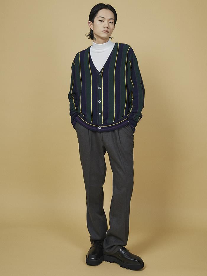 v-neck stripe cardigan - UNISEX