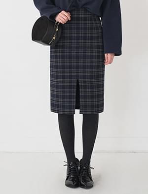 classic check midi skirt