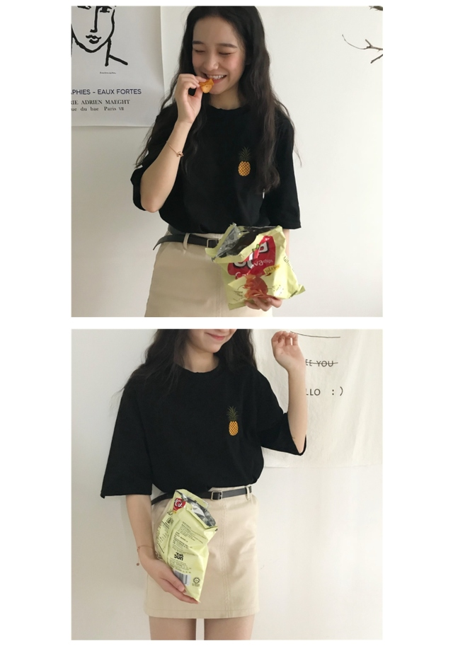 Pineapple summer short sleeve polo shirt
